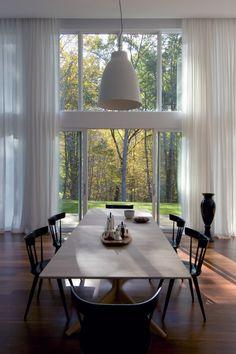 Adam Rolston, Gabriel Benroth, Drew Stuart, New York, upstate, house, table, dining room, window, door, glass, lamp, chair, curtain, wood, floor