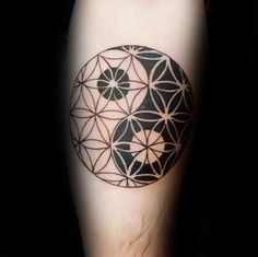 Yin Yang männlich Blume des Lebens Arm Tattoo Ideen