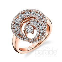 One carat of brilliant-cut round diamonds shimmer among glowing 18K rose gold.