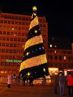Christmas tree, Wroclaw, Poland by rosella White Christmas Tree Decorations, Christmas Light Displays, Christmas Tree Cards, Beautiful Christmas Trees, Christmas Lights, Xmas Trees, Christmas World, Noel Christmas, Europe Christmas