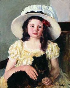"""Francoise Holding a Little Black Dog,"" Mary Cassatt, oil on canvas, 24 x 19 1/2"", private collection."