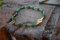 Little Flower Chaplet Bracelet Turquoise by TheseJoyfulAches
