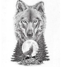 wolf and moon tattoo - Pesquisa Google