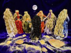 7 Jute Goddess dolls:  Isis, Astarte, Diana, Hecate, Demeter, Kali, Inanna  handmade by Rowan Duxbury positivelypagan.com