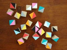 Hand painted wooden cubes by how now designs.