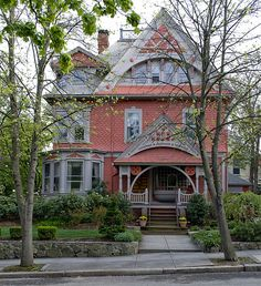 Pink Gingerbread Victorian Home - Providence, Rhode Island.