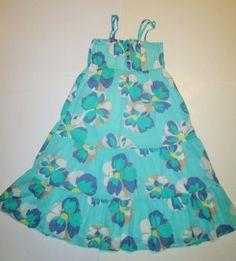 Old Navy Aqua Green Blue Floral Tiered Sleeveless Summer Sun Dress Girls L 10 12 #OldNavy #DressyEveryday