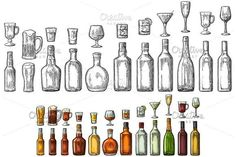 Set glass and bottle beer, whiskey, wine, gin, rum, tequila, cognac, champagne, cocktail, grog. by MoreVector on @creativemarket