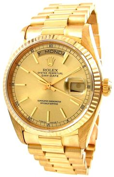 E.D. Marshall Jewelers pre owned Men's Rolex Presidential 18038. Automatic movement. Functions include: Hours, Minutes, Seconds, & Date at 3. The case material is 18kt Yellow Gold, and has a 36mm Diameter. The Fluted Bezel is 18KYG, with a Gold dial, and Gold stick markers. This watch has an 18k Yellow Gold Presidential Bracelet with deployment clasp. The Crystal is Sapphire. This watch is water resistant up to 100 meters, and is Swiss made.