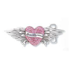 pink harley davidson | Harley-Davidson Womens Pink Crystal Heart Buckle | MonsterMarketplace ...