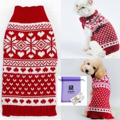 Bolbove Pet Red Snowflake Turtleneck Sweater for Small Dogs and Cats Knitwear *** Details can be found by clicking on the image. (This is an affiliate link and I receive a commission for the sales)