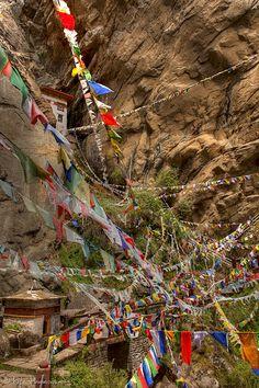 Hundreds of Buddhist Prayer Flags Bhutan