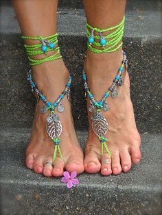 Reserved NEON green BAREFOOT sandals LEAF Toe anklets by GPyoga