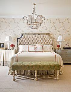 This bedroom designed by Gray Walker Interiors included Niermann Weeks Lille Chandelier.  niermannweeks.com #NiermannWeeks