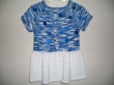 Blue and white knit baby dress baby dress от KnittingAndYarns