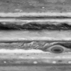 evenly spaced sequence of frames showing motions in Jupiter's atmosphere over the course of 5 days, from October 1 to October 5, 2000. The smallest features are about 500 km across.