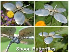 Spoon Butterfly Garden Ornament From Recycled Silverware Posted on June 11, 2013 by Nikki Make these cute butterfly spoon garden ornaments in a matter of minutes. If you have all the materials ready for some one to weld them together, it does take just minutes Materials: 4 Old Spoons Steel Rod Long Hex Screw Hack Saw Soldering Gun & Flux / Spot Welder / MIG Welder Clamps Instructions: 1.) Cut the handles off each spoon with a hack saw leaving 1″ to 1- 1/2″ of the handle. 2.) For your steel…