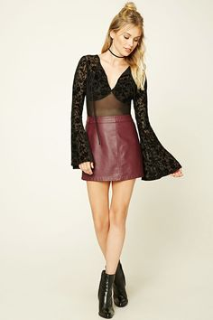 Forever 21 Contemporary - A semi-sheer mesh bodysuit featuring a floral velvet design, a self-tie keyhole front, lace-up V-back, long bell sleeves, and a snap-button closure.