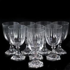 "DESCRIPTION:Set of six Sevres crystal wine glasses. Comprises of a swirling hexagonal base with ridged exterior along the body. Marked: ""Cristal Sevres France"" CIRCA:20th Ct. ORIGIN:France DIMENSIONS:H:5.5"" Diameter:2.75"""