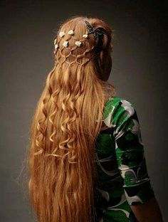 Beautiful delicate long red blonde hair Renaissance style