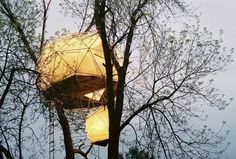 Sustainability Treehouse-- nice borrowing of the dome design! Not such a good permanent option for Kansas, IMO.