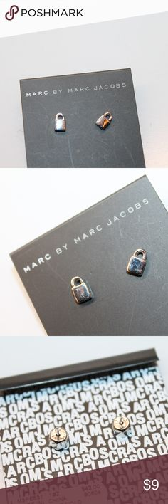 Marc Jacobs earrings Lock small stud silver tone stud , shows some minor scratches  measure 8 mm Marc By Marc Jacobs Jewelry Earrings