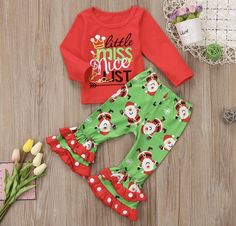 Girls Christmas Kids Baby Santa Xmas Long Sleeves Little Miss Nice List Little Miss Naughty List Outfit Set Pants Holiday Boutique Clothes