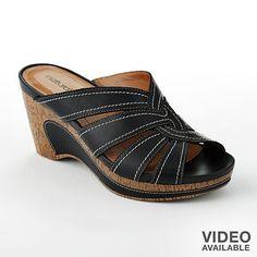 Nib Natural Soul by Naturalizer Black Leather Lynette Wedge Sandals 9 M Platform Wedge Sandals, Wedge Shoes, Flat Sandals, Flats, Cute Shoes, Me Too Shoes, Comfortable Walking Sandals, Beautiful Shoes, Casual Shoes
