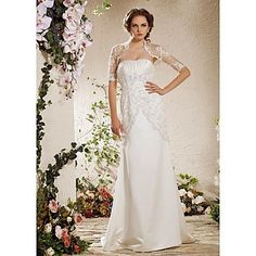 Sheath/Column Strapless Court Train Satin Lace Wedding Dress With A Wrap  – GBP £ 138.85