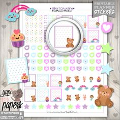 Cute Stickers, Planner Stickers, Cupcake Stickers, Bear Stickers, Erin Condren, Kawaii Stickers, Planner Accessories, Printable Stickers