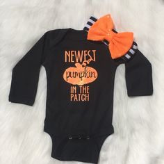 We have a new fall outfit! Not only do you have the cutest pumpkin in the patch, that is obvious, you also have the NEWEST! Bring your little home in this adorable outfit! You can celebrate Halloween and Thanksgiving with this outfit!