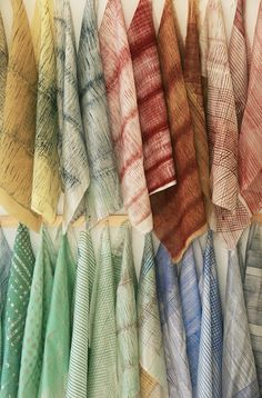 """Fabrics from the """"Basketweaving"""" series (2011) by Dutch textile artist and designer Dienke Dekker. Silkscreen printing on silk and other textiles with custom paint stamps, resulting in a series of archetypical objects. via the artist's site"""