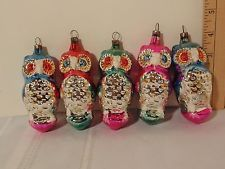 Vintage Czechoslovakia 1960'S Owls Blown Glass Christmas Ornaments 5pc LOT   eBay