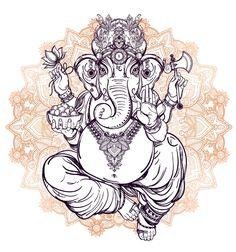 Lord Ganesha on Mandala by Aloke Design drawing, ganesh, mandala, india...