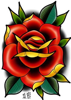 Hergestellt von Stella Luo Tätowierern in Toronto, Kanada - rose tattoos Traditional Tattoo Flowers, Traditional Roses, Neo Traditional Tattoo, Flower Tattoo Designs, Flower Tattoos, Tattoo Sketches, Tattoo Drawings, Tatuagem Old Scholl, Desenhos Old School