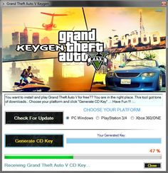 Grand Theft Auto V Free CD Key (Keygen) GTA 5 Serial Key Generator developed by our coder team ... Our Grand Theft Auto 5 CD Key Generator 2017 is free to download.