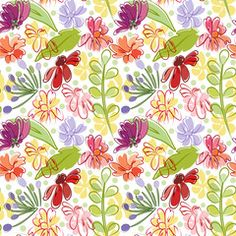 Seamless pattern with abstract flowers and leaves in bright colors on a white background.