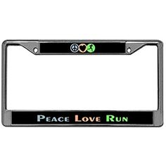 Peace Love Run License Plate Frame, Stainless Steel Car License Tag Holder