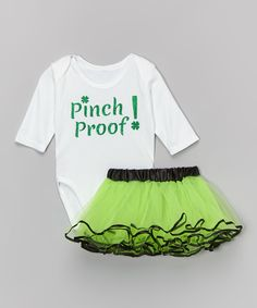 Another great find on #zulily! Beary Basics Green 'Pinch Proof' Bodysuit & Tutu - Infant by Beary Basics #zulilyfinds