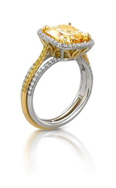 Yellow and White Gold Canary Diamond ring at Houston Jewelry!