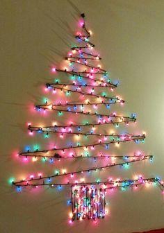 Creative Christmas Tree Ideas With Lighting 18 - homeridian. Christmas Tree Out Of Lights, Wall Christmas Tree, Creative Christmas Trees, Ribbon On Christmas Tree, Christmas Tree Themes, Xmas Tree, Christmas Bulbs, Christmas Crafts, Christmas Ideas