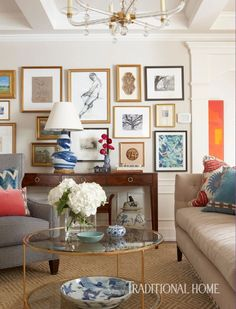 An Art Wall, Containing Vintage And Commissioned Pieces Continues To Expand  As The Collection Grows