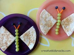 Kids food ideas - Caterpillar quesadilla w/ grape stem, carrot antenna