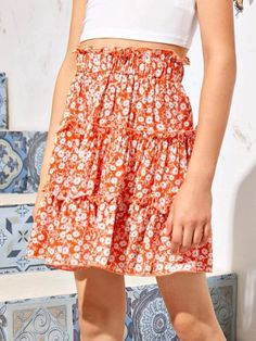 Girls Frill Trim Daisy Floral Skirt – Kidenhouse Orange Pattern, No Frills, Daisy, Boho, Girl Skirts, Floral, High Waist, Type, Girls