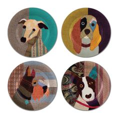 Fabulous Set of 4 Carola Van Dyke Poochie Plates - featuring a spaniel, whippet, scottie and bull terrier. The perfect gift for a dog lover!