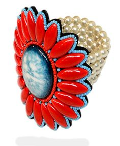 Flower Cowleather Bracelet with Beads