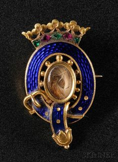 Enameled Order of the Garter Mourning Brooch,