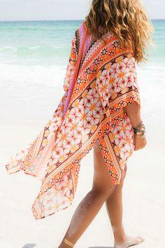 Summer's Finest Orange And Purple Tribal Print Chiffon Kimono