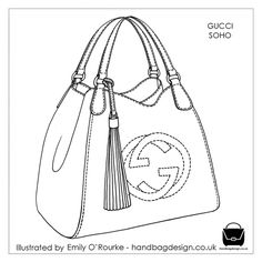 GUCCI - SOHO BAG - Designer Handbag Illustration / Sketch / Drawing / CAD / Borsa Disegno