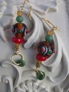 Chunky Green Red Earrings Amber Gold Earrings Lampwork by mscenna, $9.00